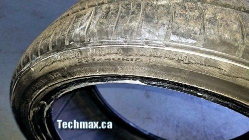 worn tire on Benz