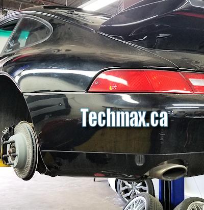 Brake work on Porsche