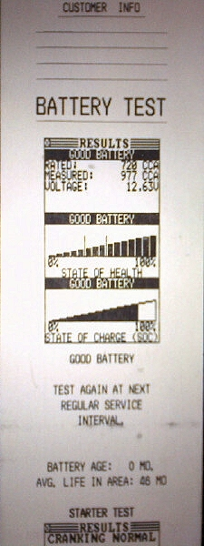 battery tester print out
